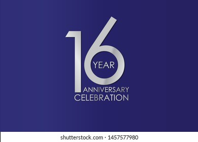 16 Year Anniversary Silver Color on Blue Background, For Invitation, banner, ads, greeting card - Vector