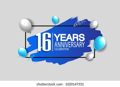16 years anniversary celebration design with blue brush and balloons isolated on white background