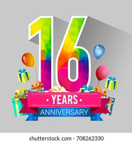 16 Years Anniversary Celebration Design, with gift box and balloons, red ribbon, Colorful polygonal logotype, Vector template elements for your birthday party.