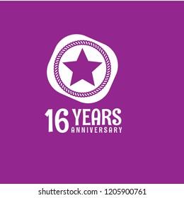 16 years anniversary celebration simple logo. vintage logo, 16 year sign, jubilee, greeting card