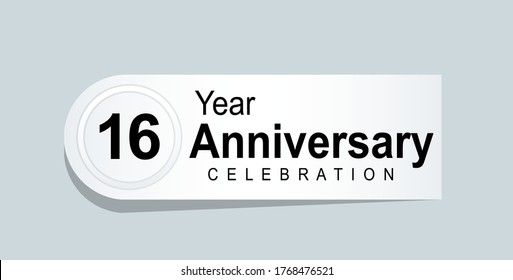 16 Years Anniversary Celebration Vector Template Design Illustration