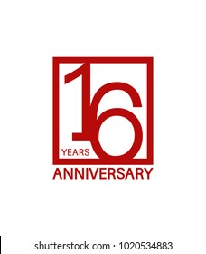 16 years anniversary design logotype with red color in square isolated on white background for celebration