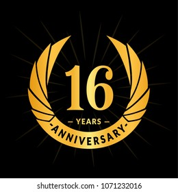 16 years anniversary. Elegant anniversary design. 16 years logo.