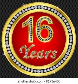 16 years anniversary, golden icon with diamonds, vector illustration
