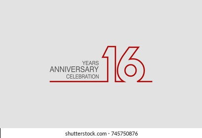16 years anniversary linked logotype with red color isolated on white background for company celebration event