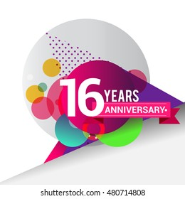 16 Years Anniversary logo with colorful geometric background, vector design template elements for your birthday celebration.