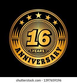 16 years anniversary. Anniversary logo design. Vector and illustration.