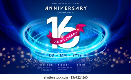 16 years anniversary logo template on dark blue Abstract futuristic space background. 16th modern technology design celebrating numbers with Hi-tech network digital technology concept design elements.