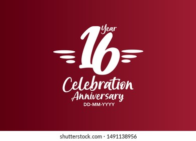 16 years anniversary white colors on red color with triple small stripes on left and right for anniversary, wedding, logo - vector