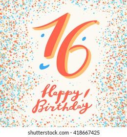 16 years Happy Birthday card.