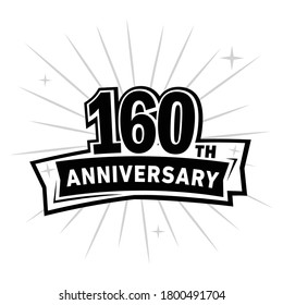 160 years anniversary celebration logo. 160th design template. Vector and illustration.