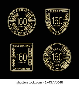 160 years anniversary celebration logotype. 160th anniversary logo collection. Set of anniversary design template. Vector and illustration.