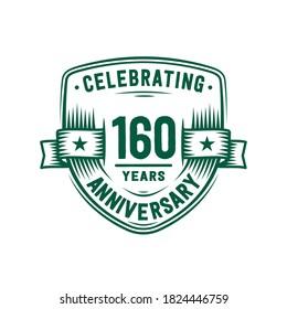160 years anniversary celebration shield design template. 160th anniversary logo. Vector and illustration.