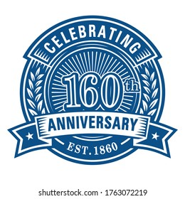 160 years anniversary celebrations design template. 160th logo. Vector and illustrations.