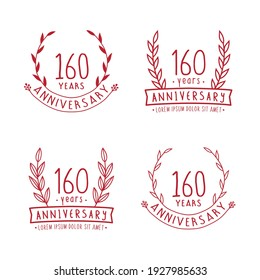 160 years anniversary logo collection. 160th years anniversary celebration hand drawn logotype. Vector and illustration.