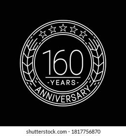 160 years anniversary logo template. 160th line art vector and illustration.