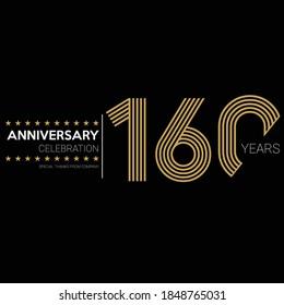 160 years old celebrating logo. happy anniversary 160th. Greetings celebrates.
