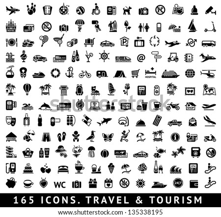 165 Icons Travel Symbols Tourism Signs Stock Vector Royalty Free