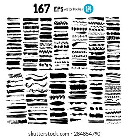 167 brushes strokes vector illustration big set