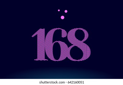 168 number digit logo pink line stripes magenta purple blue font creative text dots company vector icon design