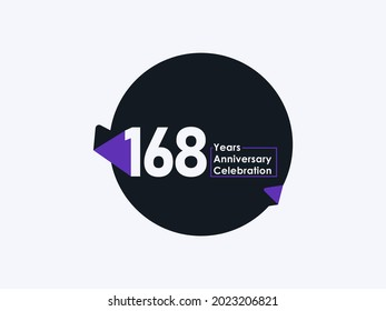 168 Years Anniversary Celebration badge with banner image isolated on white background