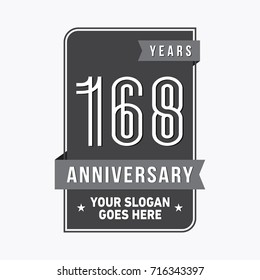 168 years anniversary design template. Vector and illustration.