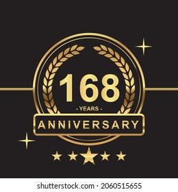 168 years anniversary golden color with circle ring and stars isolated on black background for anniversary celebration event luxury gold premium vector