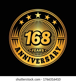168 years anniversary. Anniversary logo design. Vector and illustration.