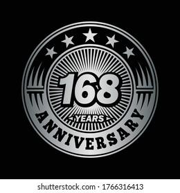 168 years anniversary. Anniversary logo design. Vector and illustration.