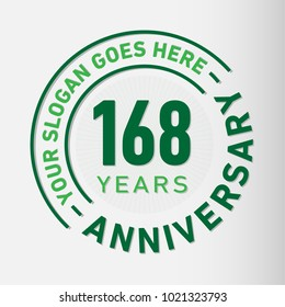 168 years anniversary logo template. Vector and illustration.