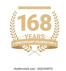 168 years anniversary vector icon, logo. Graphic design element with number and text composition for 168th anniversary