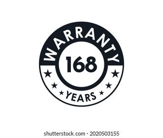 168 years warranty logo isolated on white background