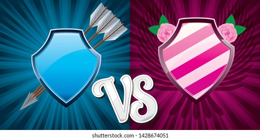 16:9 background with pink and blue team shields for versus fight battle, vector illustration, Versus vs background with steal shield for medieval war illustration.