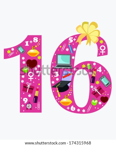 16 Happy Birthday Card Objects Girl Stock Vector Royalty Free
