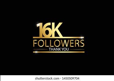 16k, 16.000 Followers celebration logotype. anniversary logo with golden and Spark light white color isolated on black background, vector design for celebration, Instagram, Twitter - Vector