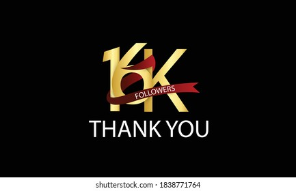 16K, 16.000 Followers Thank You anniversary Red logo with Tosca ribbon. For Social Medias - Vector