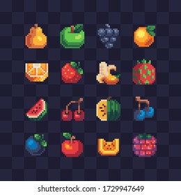 16px top-down fruits icons set, pixel art, pear, apple, grape, peach, strawberry, banana, watermelon, cherry, orange and raspberry. Design for logo, sticker and app. Isolated vector illustration.