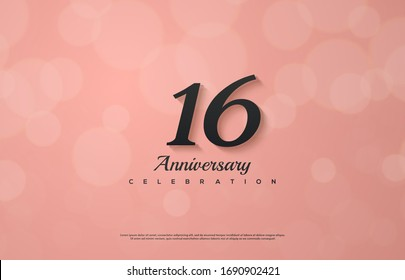 16th anniversary background with an illustration of a black colored number on a pink background.