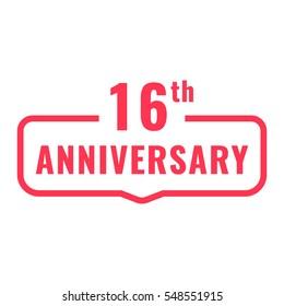 16th anniversary. Badge icon, logo. Flat vector illustration on white background.