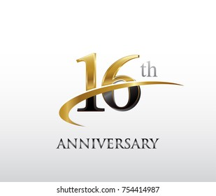 16th anniversary black and golden swoosh. simple logo vector design for greeting card and invitation card
