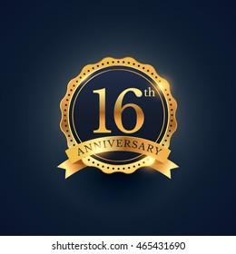 16th anniversary celebration badge label in golden color