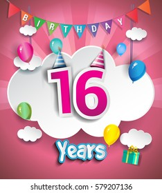 16th Anniversary Celebration Design, with clouds and balloons. using Paper Art Design Style, Vector template elements for your, sixteen years birthday celebration party.