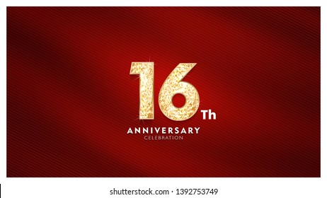 16th Anniversary celebration - Golden numbers with red fabric background