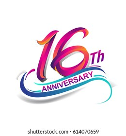 16th anniversary celebration logotype blue and red colored. sixteen years birthday logo on white background.