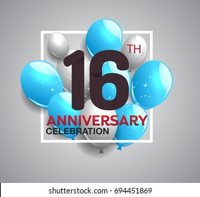 16th anniversary celebration logotype. anniversary logo with balloon in white rectangle.  Vector design for celebration, birthday, party, festival, invitation card, and greeting card