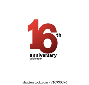 16th Anniversary Celebration Logotype Logo Simple Isolated On White Background Vector Design For