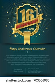 16th Anniversary celebration template design , 16 year anniversary design of elements, dark green or Turquoise blue background - vector illustration