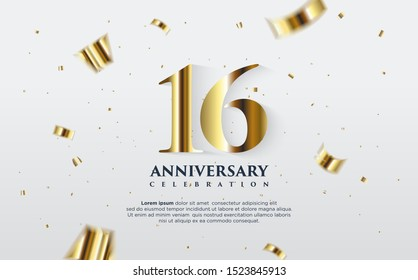 16th anniversary celebration vector background. by using three colors in the design between white, gold and black. vectors can be edited easily according to their needs and desires.