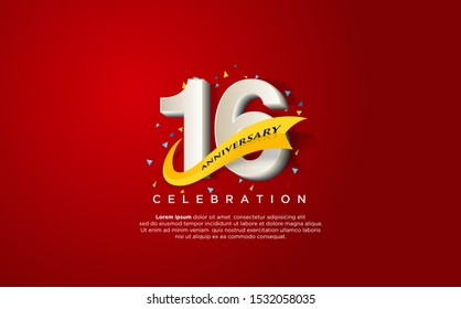 16th anniversary celebration vector background. by using three colors in the design between white, yellow and black. vectors can be edited easily according to their needs and desires.