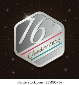 16th Anniversary - Classy and Modern silver emblem / Seal / Badge - vector illustration on  rays and stars background